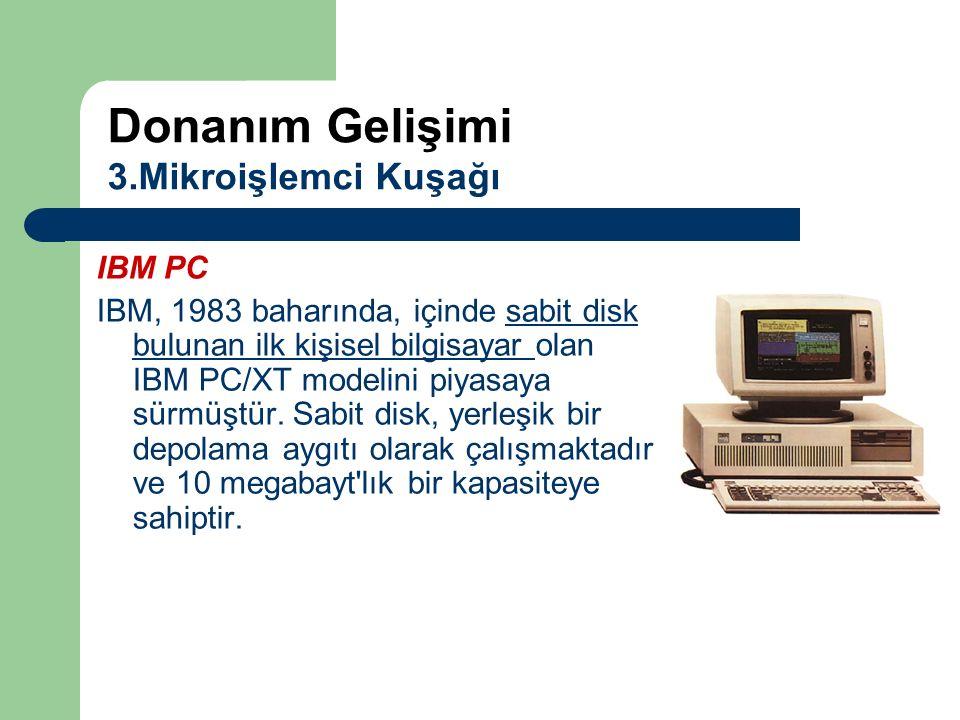 IBM PC IBM, 1983 baharında, içinde sabit disk bulunan ilk kişisel bilgisayar olan IBM PC/XT modelini piyasaya sürmüştür. Sabit disk, yerleşik bir depo
