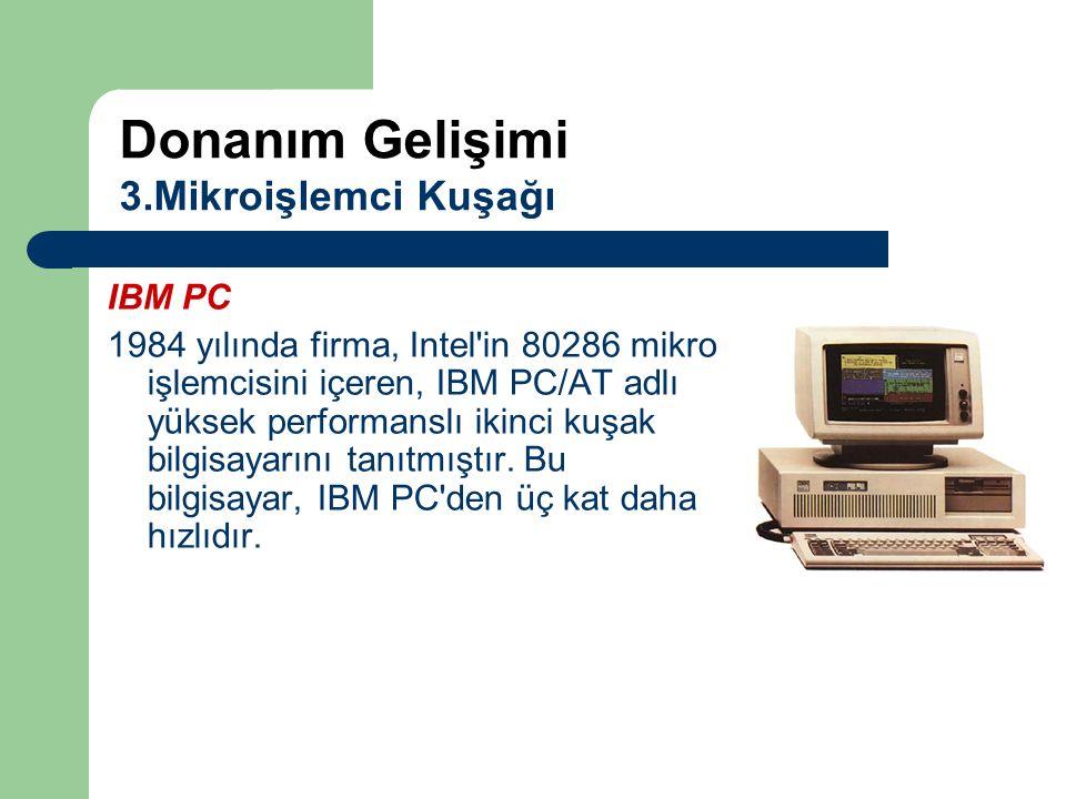 IBM PC 1984 yılında firma, Intel'in 80286 mikro işlemcisini içeren, IBM PC/AT adlı yüksek performanslı ikinci kuşak bilgisayarını tanıtmıştır. Bu bilg