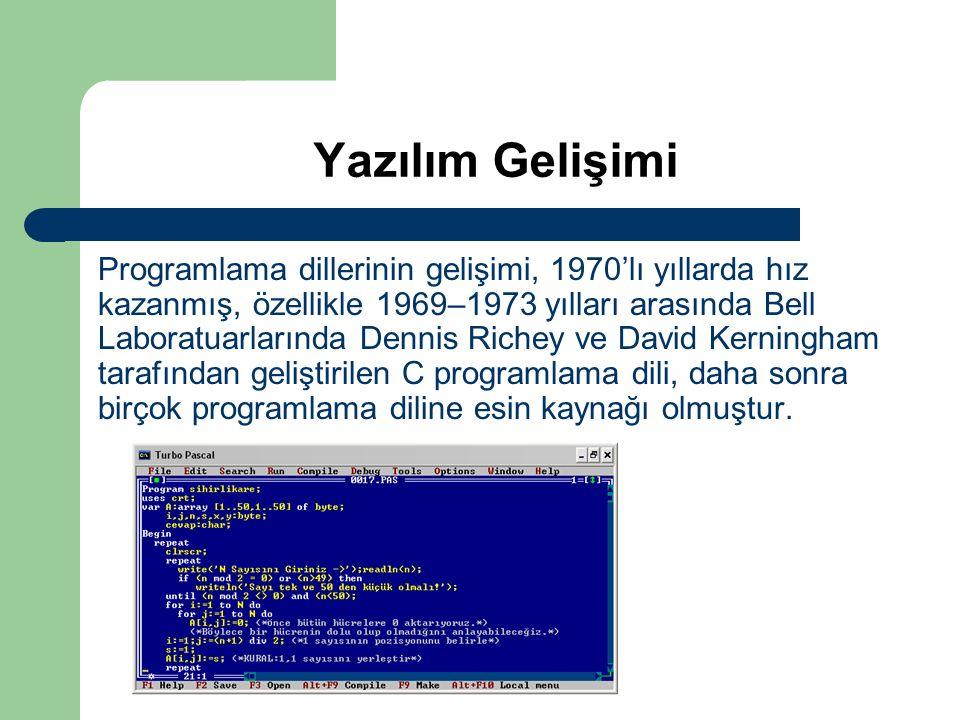 Yazılım Gelişimi Programlama dillerinin gelişimi, 1970'lı yıllarda hız kazanmış, özellikle 1969–1973 yılları arasında Bell Laboratuarlarında Dennis Ri