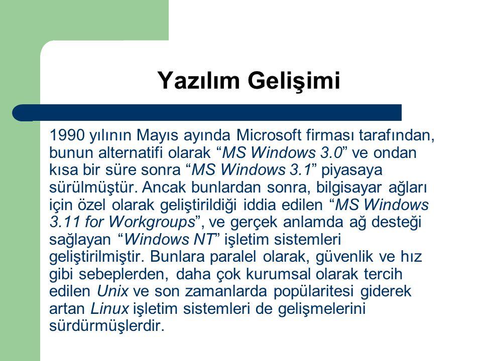 """Yazılım Gelişimi 1990 yılının Mayıs ayında Microsoft firması tarafından, bunun alternatifi olarak """"MS Windows 3.0"""" ve ondan kısa bir süre sonra """"MS Wi"""