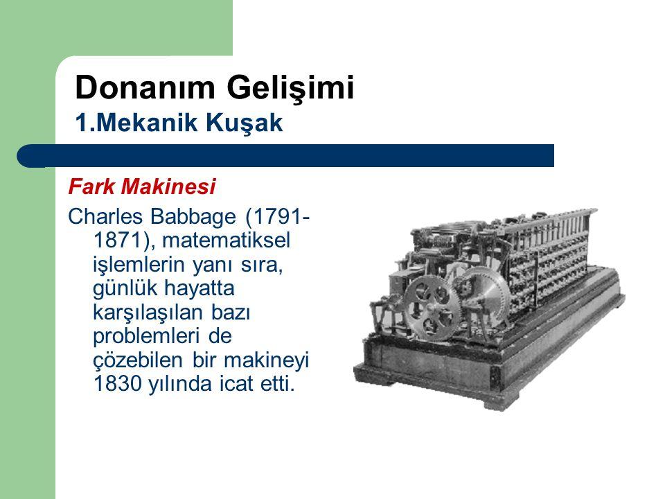 Fark Makinesi Charles Babbage (1791- 1871), matematiksel işlemlerin yanı sıra, günlük hayatta karşılaşılan bazı problemleri de çözebilen bir makineyi