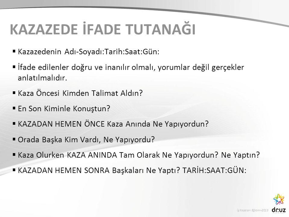 İş Kazaları Eğitimi-2013 KAZAZEDE İFADE TUTANAĞI  Kazazedenin Adı-Soyadı:Tarih:Saat:Gün:  İfade edilenler doğru ve inanılır olmalı, yorumlar değil gerçekler anlatılmalıdır.