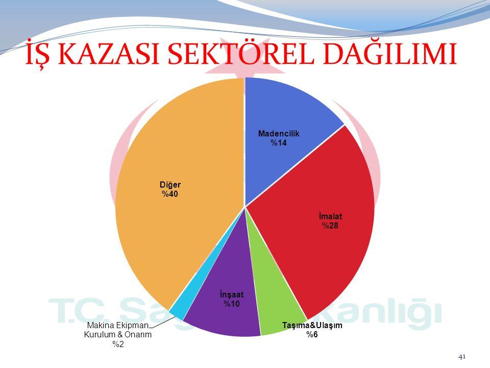 41 İŞ KAZASI SEKTÖREL DAĞILIMI