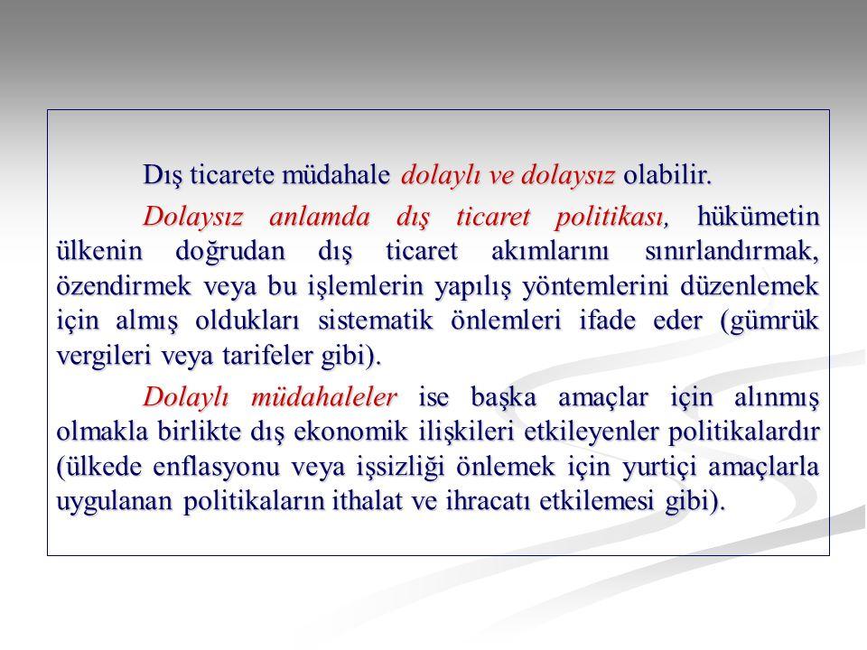 Hükümetlerin dış ticaret politikasının amaçları aşağıdaki gibidir: a.