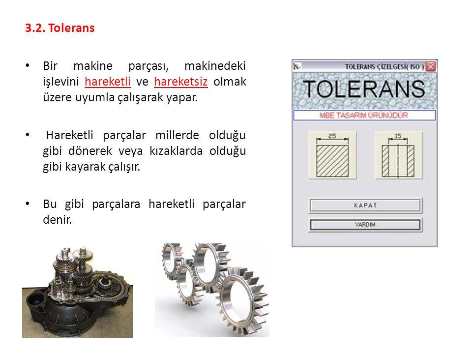 3.2. Tolerans Bir makine parçası, makinedeki işlevini hareketli ve hareketsiz olmak üzere uyumla çalışarak yapar. Hareketli parçalar millerde olduğu g