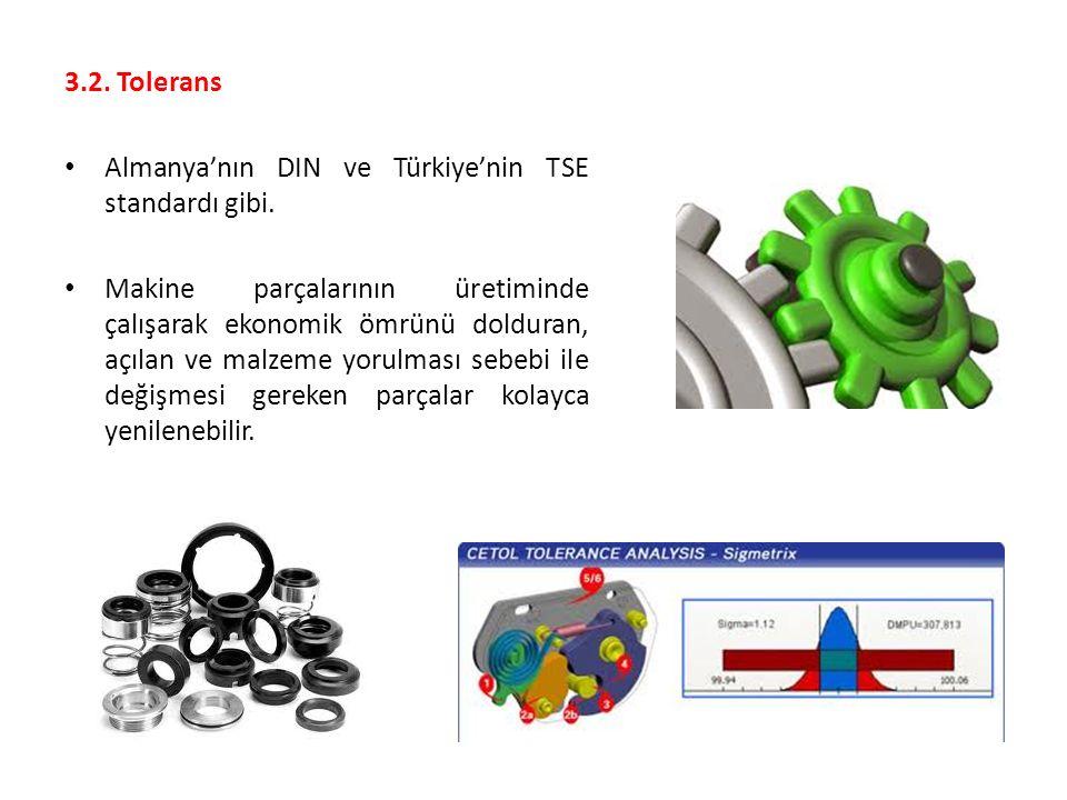 3.2. Tolerans Almanya'nın DIN ve Türkiye'nin TSE standardı gibi. Makine parçalarının üretiminde çalışarak ekonomik ömrünü dolduran, açılan ve malzeme
