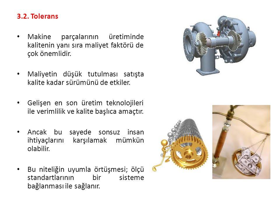 3.2. Tolerans Makine parçalarının üretiminde kalitenin yanı sıra maliyet faktörü de çok önemlidir. Maliyetin düşük tutulması satışta kalite kadar sürü