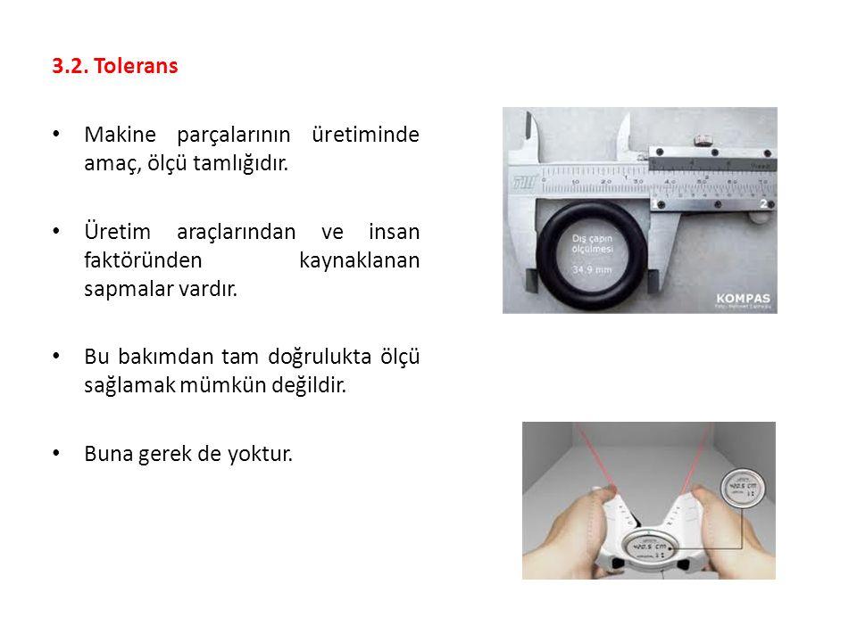 3.2.Tolerans Makine parçalarının üretiminde amaç, ölçü tamlığıdır.