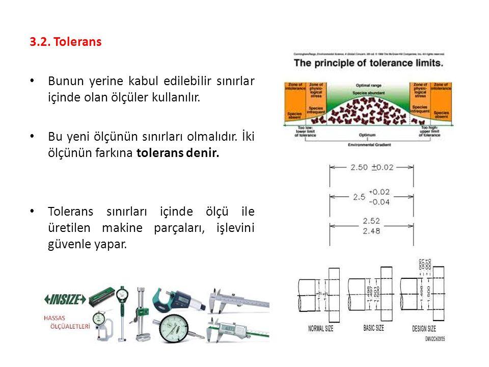 3.2. Tolerans Bunun yerine kabul edilebilir sınırlar içinde olan ölçüler kullanılır. Bu yeni ölçünün sınırları olmalıdır. İki ölçünün farkına tolerans
