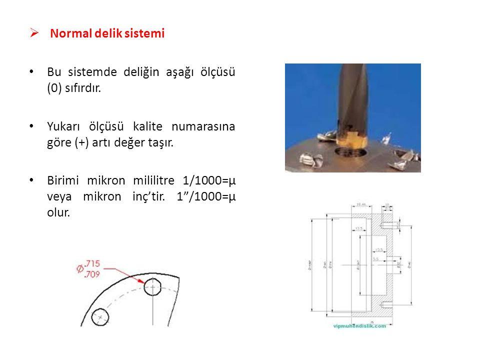  Normal delik sistemi Bu sistemde deliğin aşağı ölçüsü (0) sıfırdır. Yukarı ölçüsü kalite numarasına göre (+) artı değer taşır. Birimi mikron mililit