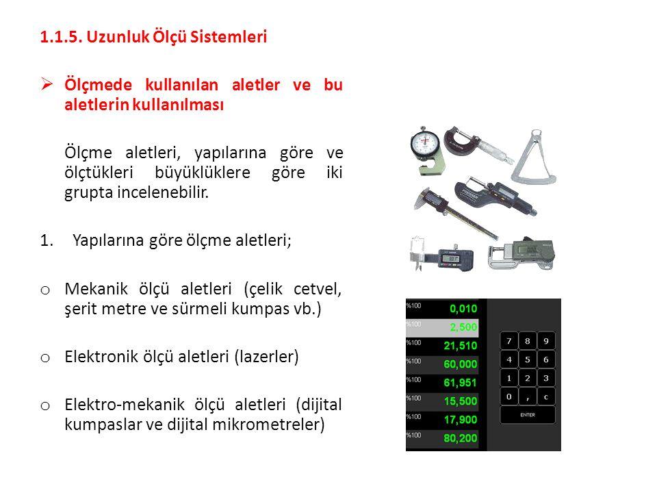 1.1.5. Uzunluk Ölçü Sistemleri  Ölçmede kullanılan aletler ve bu aletlerin kullanılması Ölçme aletleri, yapılarına göre ve ölçtükleri büyüklüklere gö