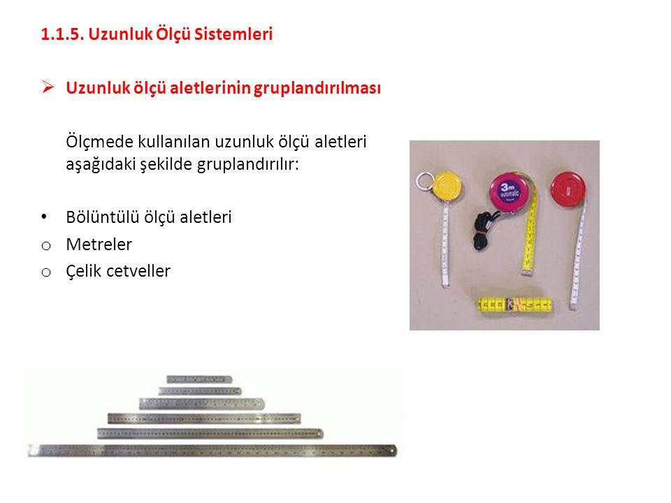 1.1.5. Uzunluk Ölçü Sistemleri  Uzunluk ölçü aletlerinin gruplandırılması Ölçmede kullanılan uzunluk ölçü aletleri aşağıdaki şekilde gruplandırılır: