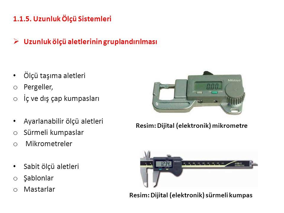 1.1.5. Uzunluk Ölçü Sistemleri  Uzunluk ölçü aletlerinin gruplandırılması Ölçü taşıma aletleri o Pergeller, o İç ve dış çap kumpasları Ayarlanabilir