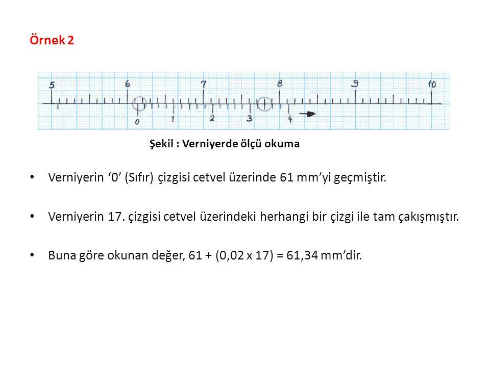 Örnek 2 Verniyerin '0' (Sıfır) çizgisi cetvel üzerinde 61 mm'yi geçmiştir. Verniyerin 17. çizgisi cetvel üzerindeki herhangi bir çizgi ile tam çakışmı