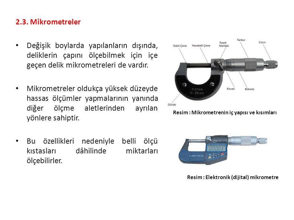 2.3. Mikrometreler Değişik boylarda yapılanların dışında, deliklerin çapını ölçebilmek için içe geçen delik mikrometreleri de vardır. Mikrometreler ol