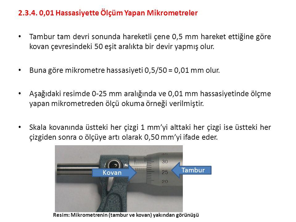 2.3.4. 0,01 Hassasiyette Ölçüm Yapan Mikrometreler Tambur tam devri sonunda hareketli çene 0,5 mm hareket ettiğine göre kovan çevresindeki 50 eşit ara