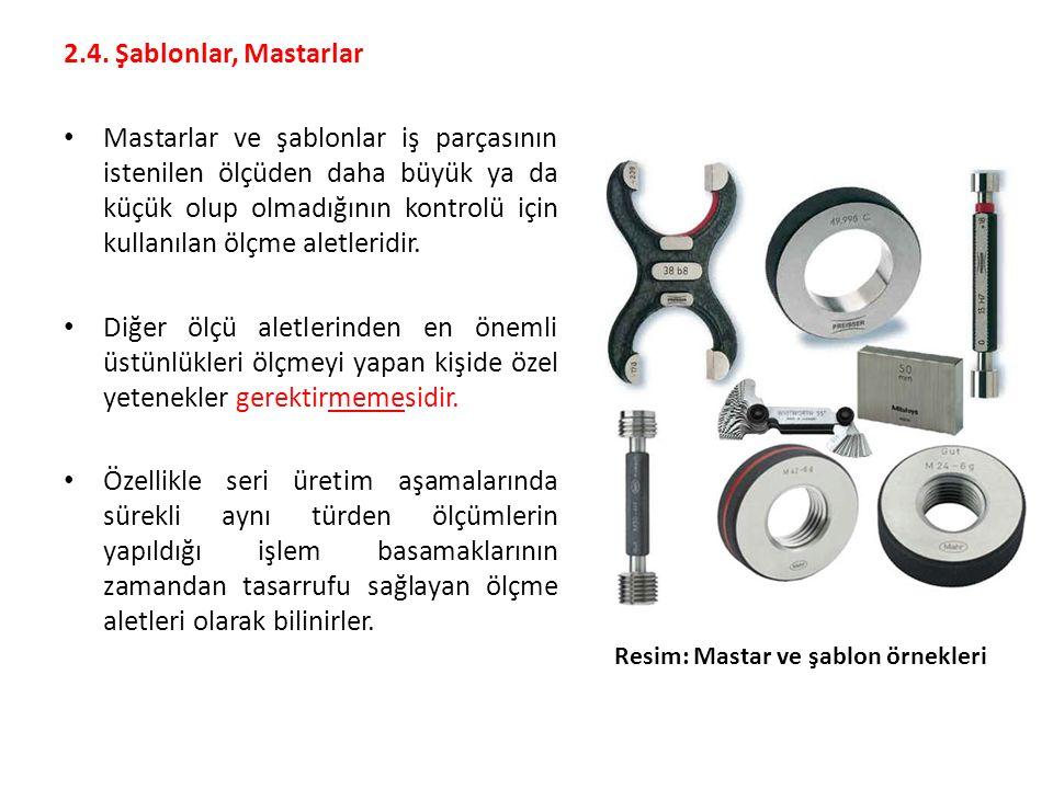 2.4. Şablonlar, Mastarlar Mastarlar ve şablonlar iş parçasının istenilen ölçüden daha büyük ya da küçük olup olmadığının kontrolü için kullanılan ölçm