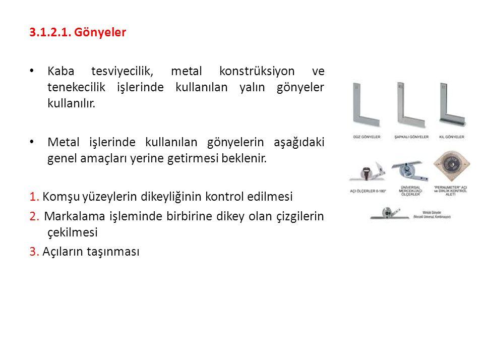 3.1.2.1. Gönyeler Kaba tesviyecilik, metal konstrüksiyon ve tenekecilik işlerinde kullanılan yalın gönyeler kullanılır. Metal işlerinde kullanılan gön