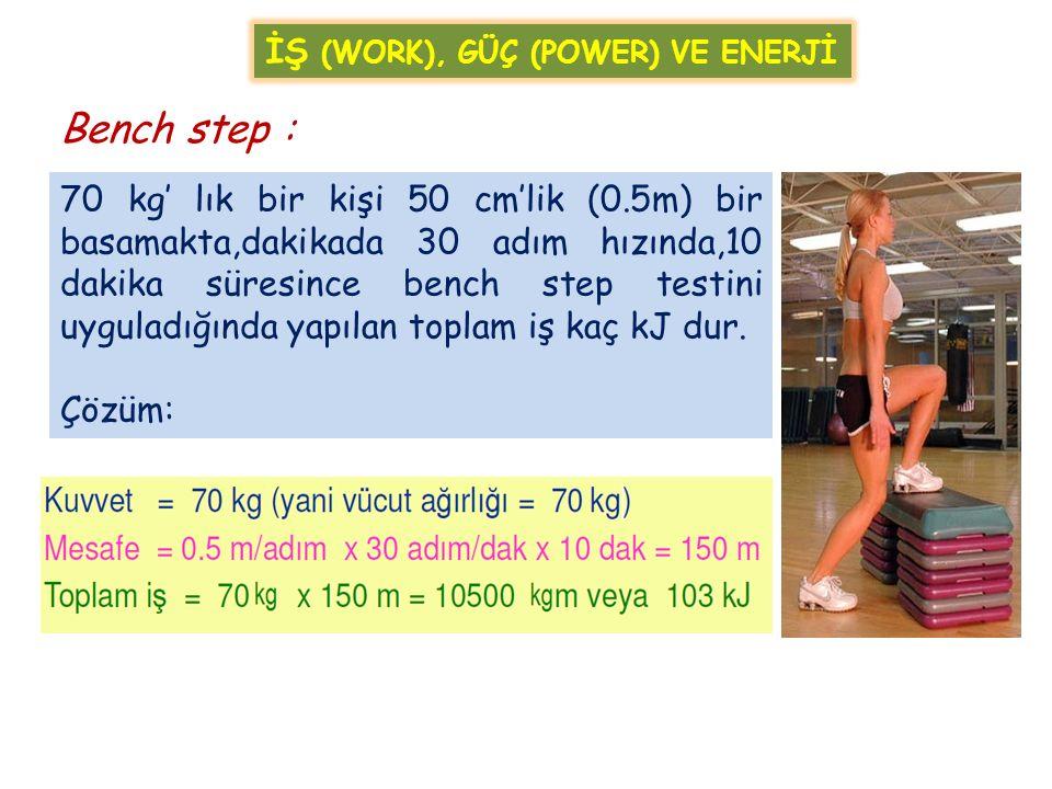 70 kg' lık bir kişi 50 cm'lik (0.5m) bir basamakta,dakikada 30 adım hızında,10 dakika süresince bench step testini uyguladığında yapılan toplam iş kaç kJ dur.