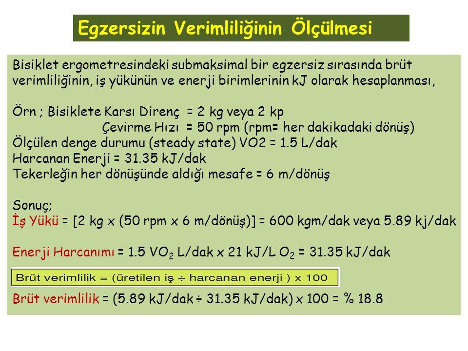 Bisiklet ergometresindeki submaksimal bir egzersiz sırasında brüt verimliliğinin, iş yükünün ve enerji birimlerinin kJ olarak hesaplanması, Örn ; Bisiklete Karsı Direnç = 2 kg veya 2 kp Çevirme Hızı = 50 rpm (rpm= her dakikadaki dönüş) Ölçülen denge durumu (steady state) VO2 = 1.5 L/dak Harcanan Enerji = 31.35 kJ/dak Tekerleğin her dönüşünde aldığı mesafe = 6 m/dönüş Sonuç; İş Yükü = [2 kg x (50 rpm x 6 m/dönüş)] = 600 kgm/dak veya 5.89 kj/dak Enerji Harcanımı = 1.5 VO 2 L/dak x 21 kJ/L O 2 = 31.35 kJ/dak Brüt verimlilik = (5.89 kJ/dak ÷ 31.35 kJ/dak) x 100 = % 18.8 Egzersizin Verimliliğinin Ölçülmesi