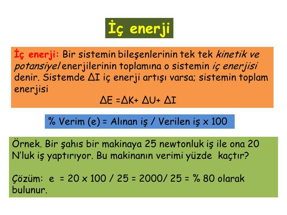 İç enerji İç enerji: Bir sistemin bileşenlerinin tek tek kinetik ve potansiyel enerjilerinin toplamına o sistemin iç enerjisi denir.
