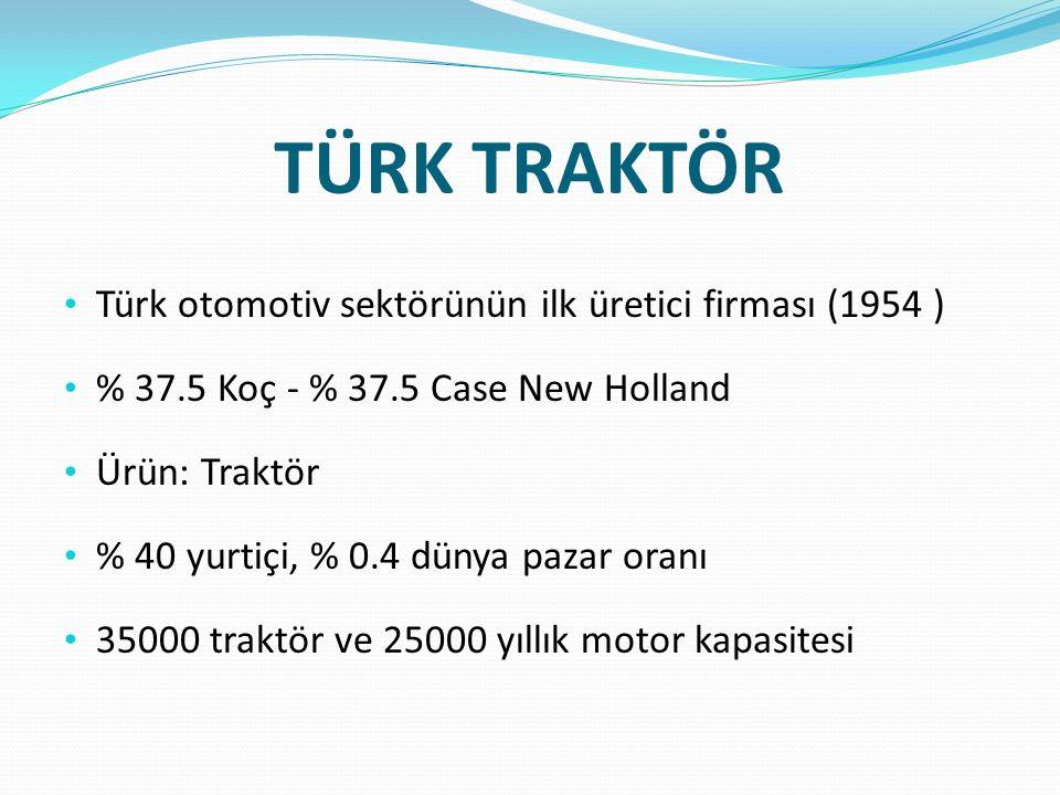 TÜRK TRAKTÖR Türk otomotiv sektörünün ilk üretici firması (1954 ) % 37.5 Koç - % 37.5 Case New Holland Ürün: Traktör % 40 yurtiçi, % 0.4 dünya pazar o