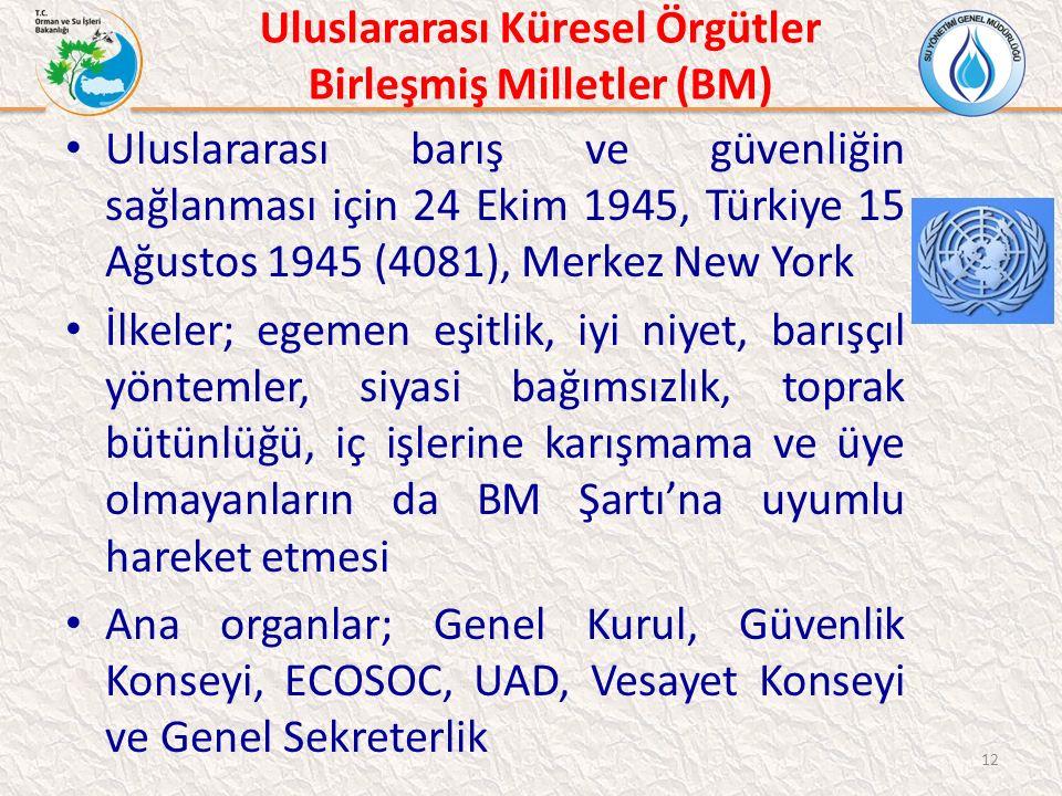 Uluslararası Küresel Örgütler Birleşmiş Milletler (BM) Uluslararası barış ve güvenliğin sağlanması için 24 Ekim 1945, Türkiye 15 Ağustos 1945 (4081),
