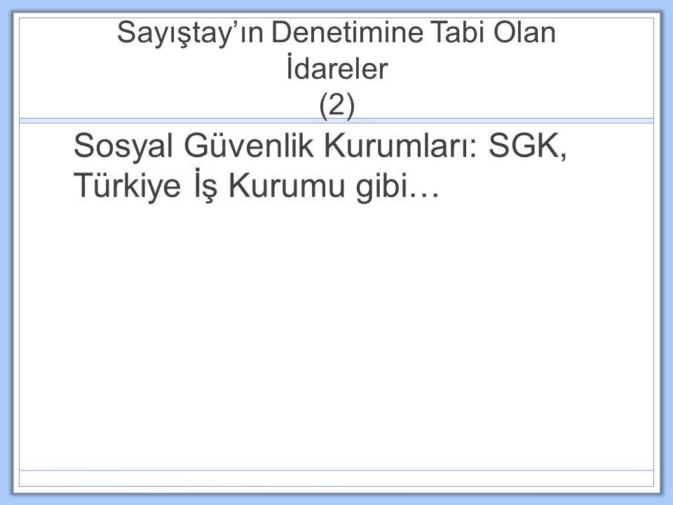 Sayıştay'ın Denetimine Tabi Olan İdareler (2) Sosyal Güvenlik Kurumları: SGK, Türkiye İş Kurumu gibi…