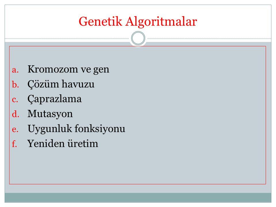 Genetik Algoritmalar a. Kromozom ve gen b. Çözüm havuzu c. Çaprazlama d. Mutasyon e. Uygunluk fonksiyonu f. Yeniden üretim