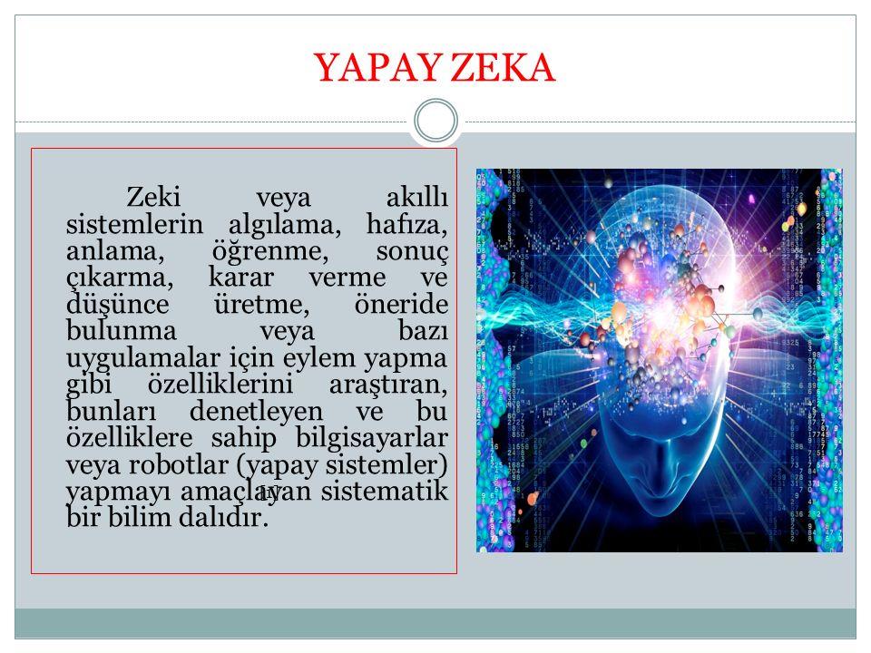 YAPAY ZEKA Zeki veya akıllı sistemlerin algılama, hafıza, anlama, öğrenme, sonuç çıkarma, karar verme ve düşünce üretme, öneride bulunma veya bazı uyg
