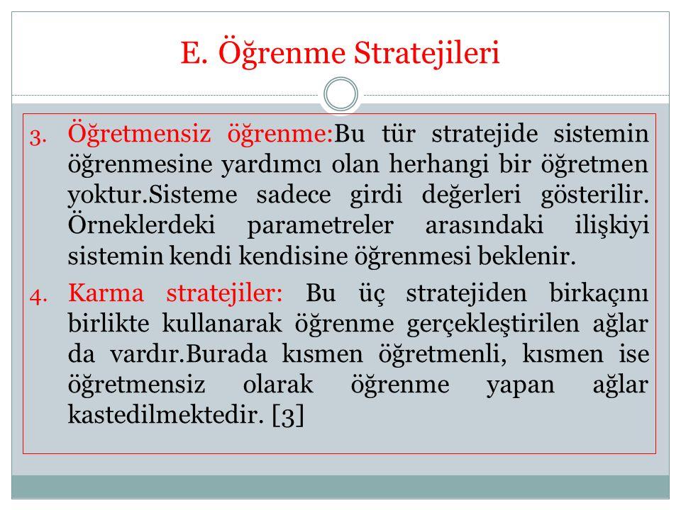 E.Öğrenme Stratejileri 3. Öğretmensiz öğrenme:Bu tür stratejide sistemin öğrenmesine yardımcı olan herhangi bir öğretmen yoktur.Sisteme sadece girdi d