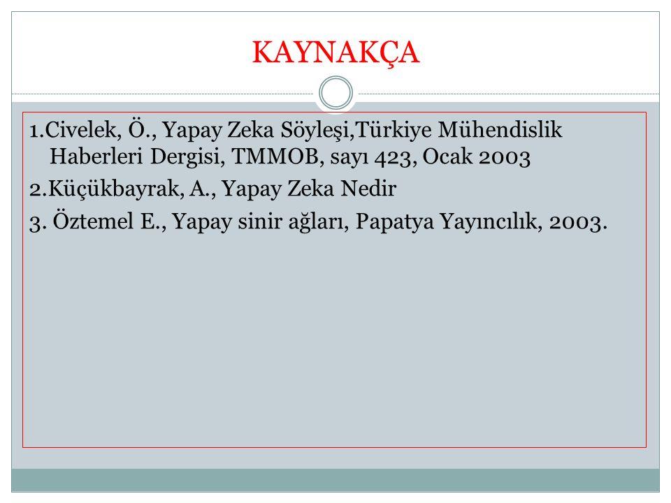 KAYNAKÇA 1.Civelek, Ö., Yapay Zeka Söyleşi,Türkiye Mühendislik Haberleri Dergisi, TMMOB, sayı 423, Ocak 2003 2.Küçükbayrak, A., Yapay Zeka Nedir 3. Öz