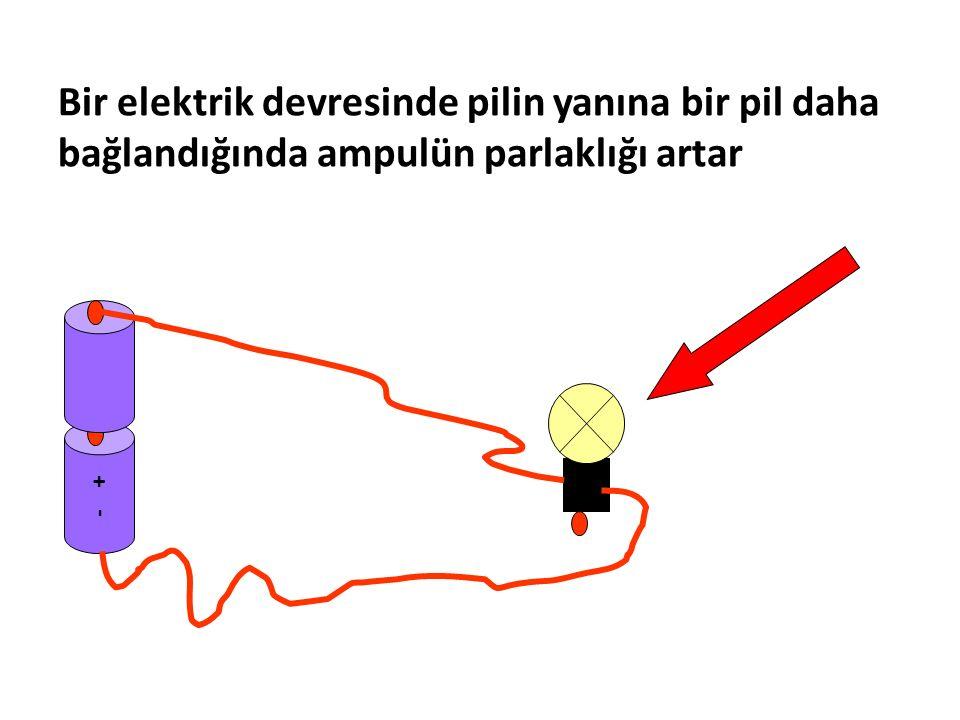 Bir elektrik devresinde pilin yanına bir pil daha bağlandığında ampulün parlaklığı artar