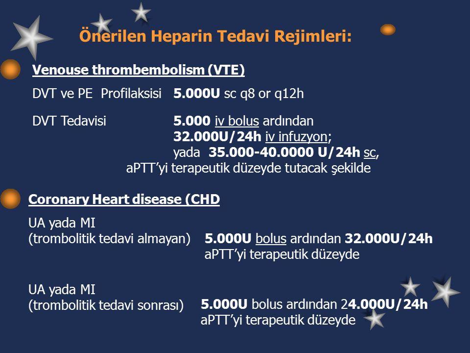 Önerilen Heparin Tedavi Rejimleri: Venouse thrombembolism (VTE) DVT ve PE Profilaksisi 5.000U sc q8 or q12h DVT Tedavisi5.000 iv bolus ardından 32.000U/24h iv infuzyon; yada 35.000-40.0000 U/24h sc, aPTT'yi terapeutik düzeyde tutacak şekilde Coronary Heart disease (CHD UA yada MI (trombolitik tedavi almayan) 5.000U bolus ardından 32.000U/24h aPTT'yi terapeutik düzeyde UA yada MI (trombolitik tedavi sonrası) 5.000U bolus ardından 24.000U/24h aPTT'yi terapeutik düzeyde