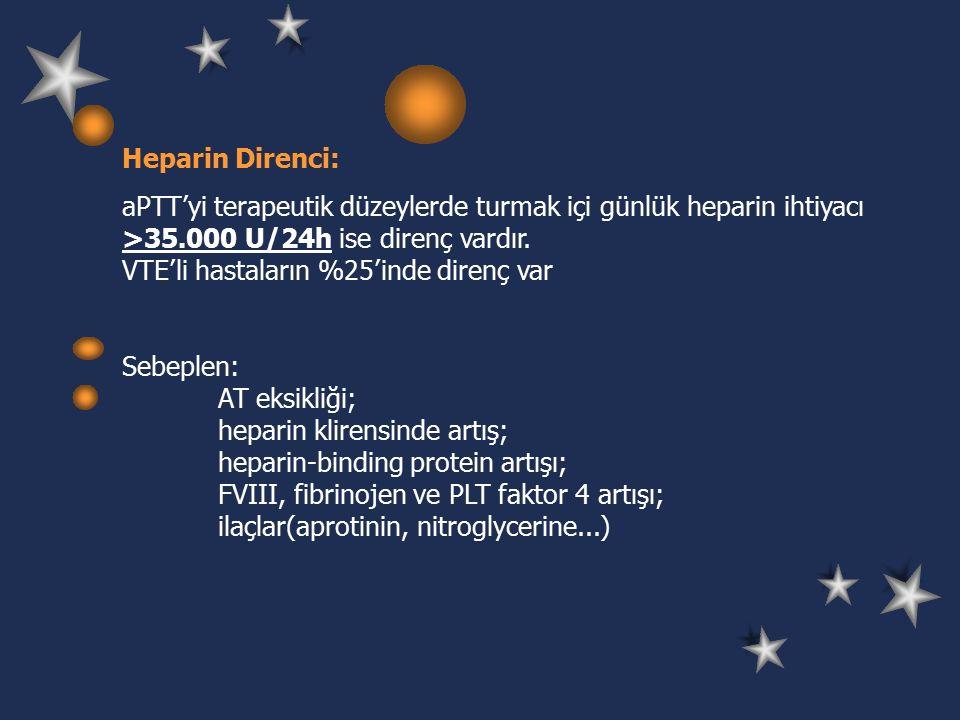 Heparin Direnci: aPTT'yi terapeutik düzeylerde turmak içi günlük heparin ihtiyacı >35.000 U/24h ise direnç vardır.