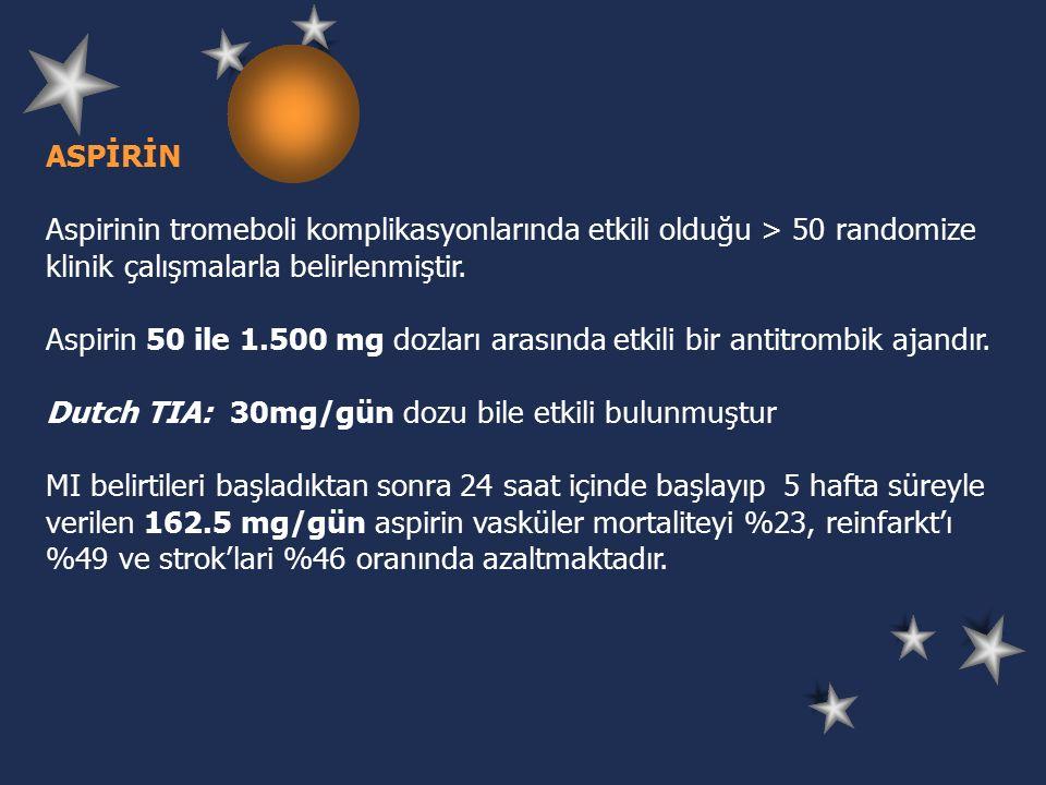 ASPİRİN Aspirinin tromeboli komplikasyonlarında etkili olduğu > 50 randomize klinik çalışmalarla belirlenmiştir.
