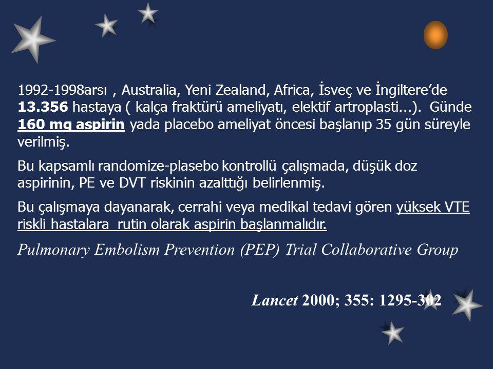 1992-1998arsı, Australia, Yeni Zealand, Africa, İsveç ve İngiltere'de 13.356 hastaya ( kalça fraktürü ameliyatı, elektif artroplasti...).