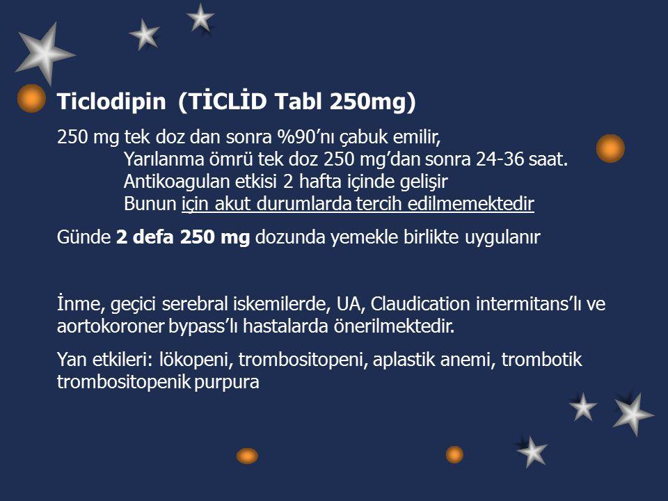 Ticlodipin (TİCLİD Tabl 250mg) 250 mg tek doz dan sonra %90'nı çabuk emilir, Yarılanma ömrü tek doz 250 mg'dan sonra 24-36 saat.