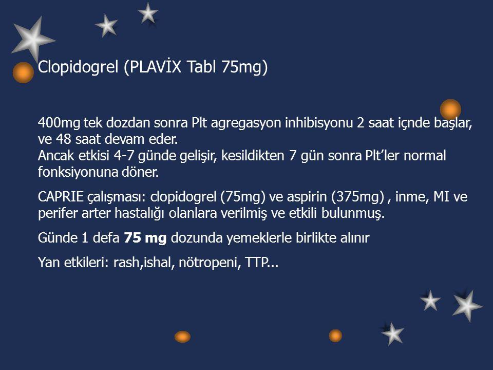 Clopidogrel (PLAVİX Tabl 75mg) 400mg tek dozdan sonra Plt agregasyon inhibisyonu 2 saat içnde başlar, ve 48 saat devam eder.