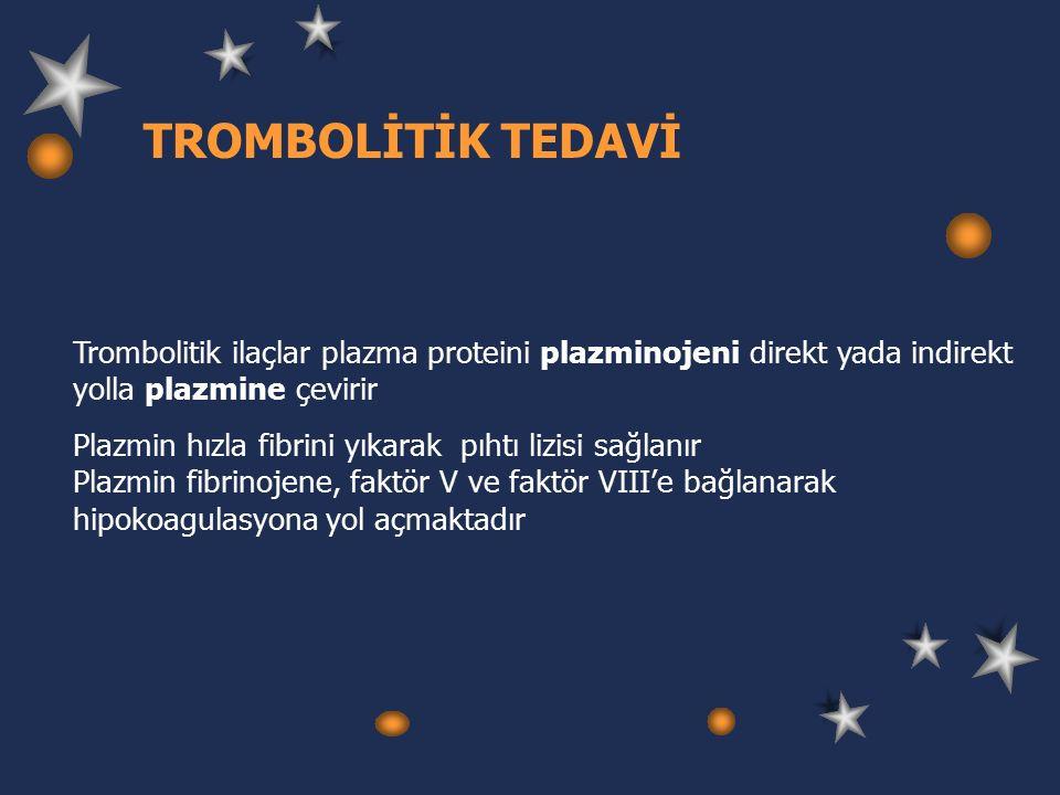 TROMBOLİTİK TEDAVİ Trombolitik ilaçlar plazma proteini plazminojeni direkt yada indirekt yolla plazmine çevirir Plazmin hızla fibrini yıkarak pıhtı lizisi sağlanır Plazmin fibrinojene, faktör V ve faktör VIII'e bağlanarak hipokoagulasyona yol açmaktadır