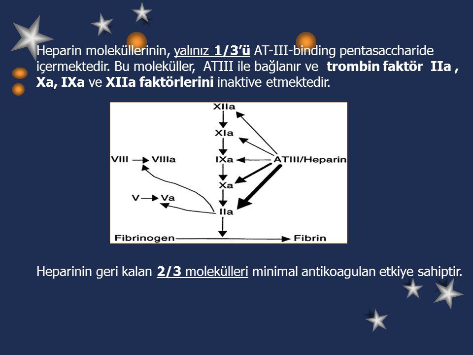 Heparin moleküllerinin, yalınız 1/3'ü AT-III-binding pentasaccharide içermektedir.