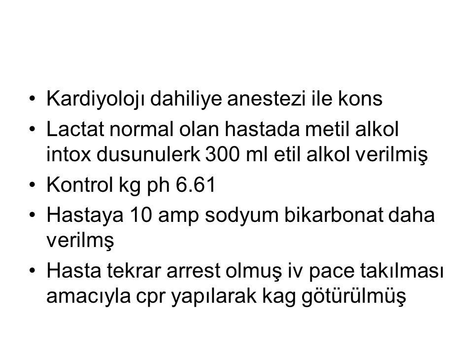 Kardiyolojı dahiliye anestezi ile kons Lactat normal olan hastada metil alkol intox dusunulerk 300 ml etil alkol verilmiş Kontrol kg ph 6.61 Hastaya 1