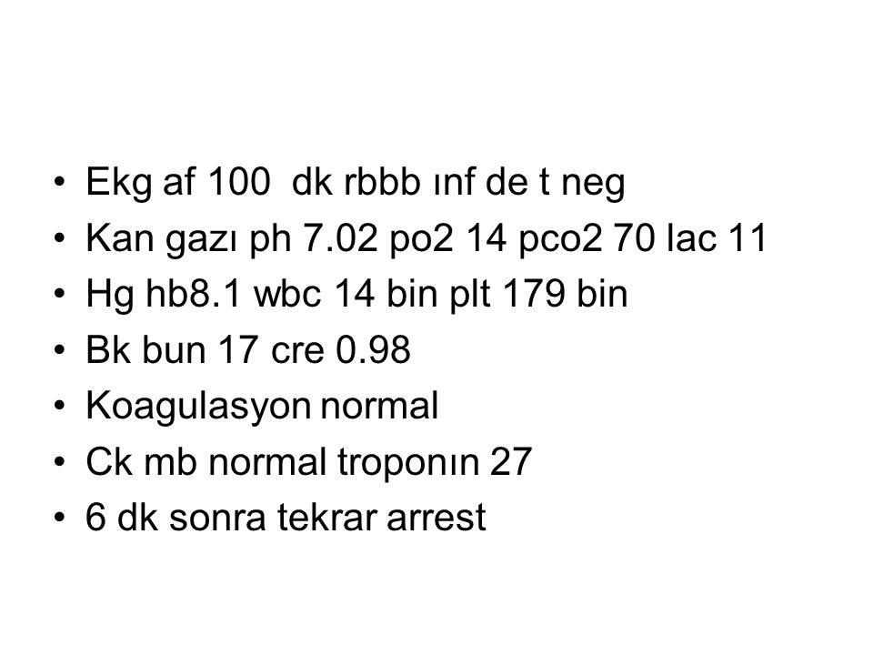 Ekg af 100 dk rbbb ınf de t neg Kan gazı ph 7.02 po2 14 pco2 70 lac 11 Hg hb8.1 wbc 14 bin plt 179 bin Bk bun 17 cre 0.98 Koagulasyon normal Ck mb normal troponın 27 6 dk sonra tekrar arrest