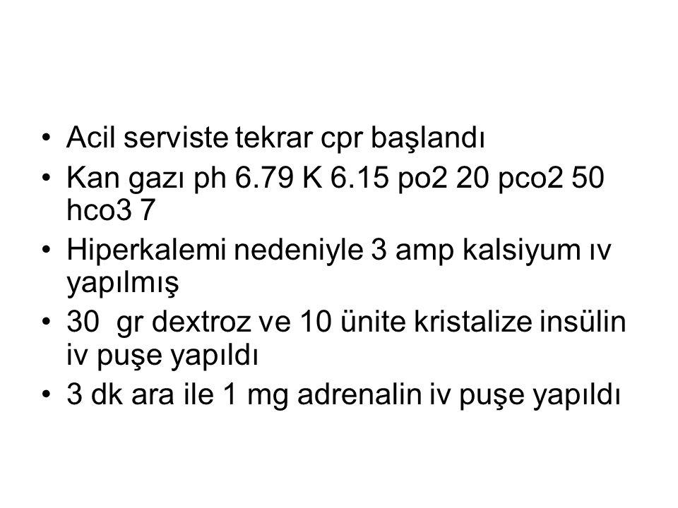 Acil serviste tekrar cpr başlandı Kan gazı ph 6.79 K 6.15 po2 20 pco2 50 hco3 7 Hiperkalemi nedeniyle 3 amp kalsiyum ıv yapılmış 30 gr dextroz ve 10 ü