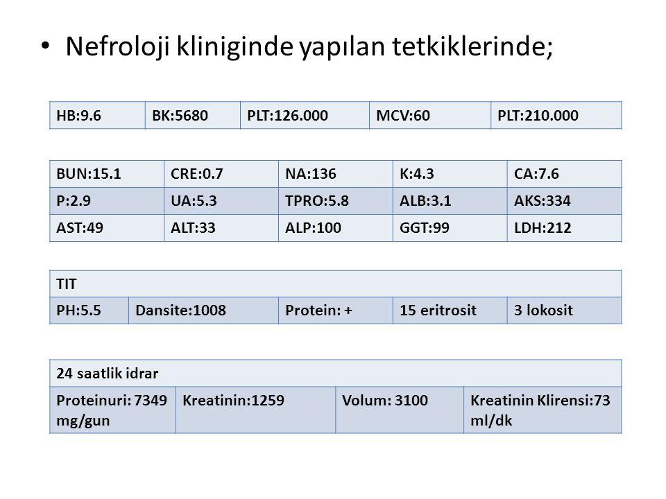 Nefroloji kliniginde yapılan tetkiklerinde; HB:9.6BK:5680PLT:126.000MCV:60PLT:210.000 BUN:15.1CRE:0.7NA:136K:4.3CA:7.6 P:2.9UA:5.3TPRO:5.8ALB:3.1AKS:3