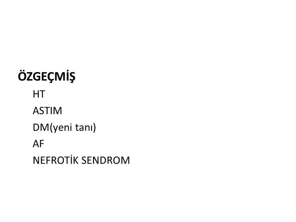 KULLANDIĞI İLAÇLAR: FOLBİOL 5 MG TB 1X1 FERROSANOL DODENALE TB 1x1 FAMODİN 40 MG TB 1X1 DİAFORMİN 2X1000 MG TB COUMADİN 5 mg tb (1 gün 2.5 mg 2 gün 5 mg ) DİLTİZEM 2X120 MG LASİX TB 2X1 KETOSTERİL TB 3X5