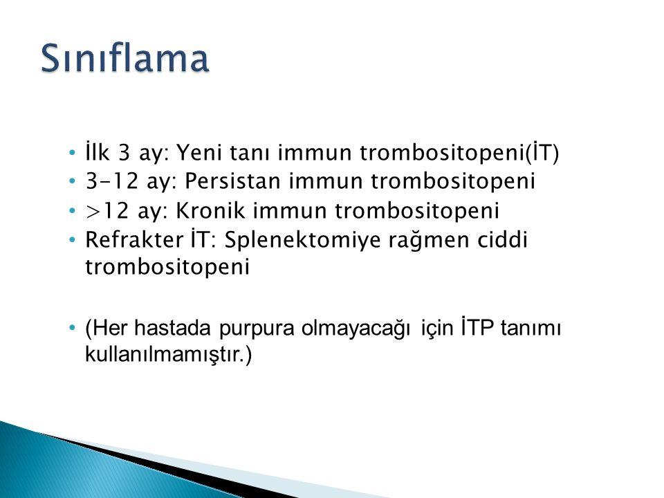 İlk 3 ay: Yeni tanı immun trombositopeni (İT) 3-12 ay: Persistan immun trombositopeni >12 ay: Kronik immun trombositopeni Refrakter İT: Splenektomiye rağmen ciddi trombositopeni (Her hastada purpura olmayacağı için İTP tanımı kullanılmamıştır.)