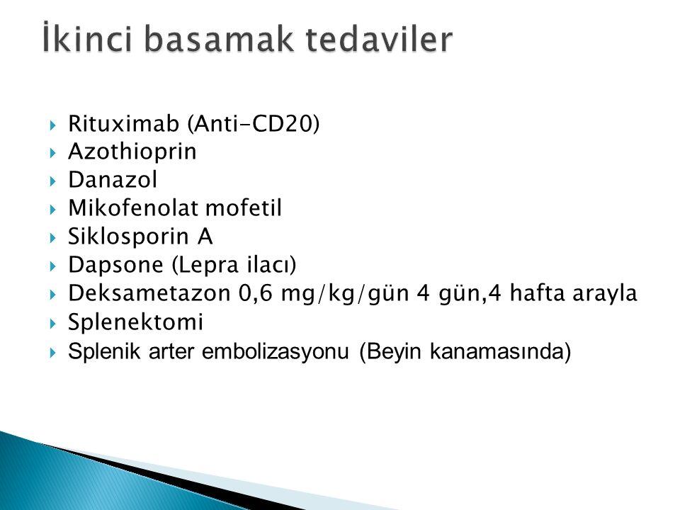  Rituximab (Anti-CD20)  Azothioprin  Danazol  Mikofenolat mofetil  Siklosporin A  Dapsone (Lepra ilacı)  Deksametazon 0,6 mg/kg/gün 4 gün,4 hafta arayla  Splenektomi  Splenik arter embolizasyonu (Beyin kanamasında)