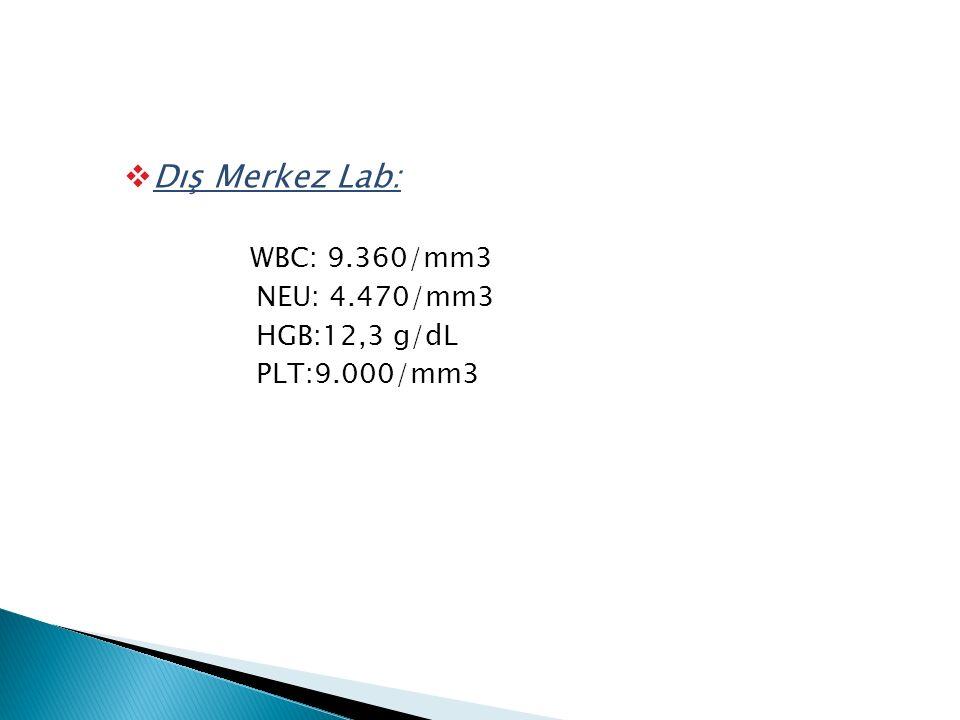  Dış Merkez Lab: WBC: 9.360/mm3 NEU: 4.470/mm3 HGB:12,3 g/dL PLT:9.000/mm3