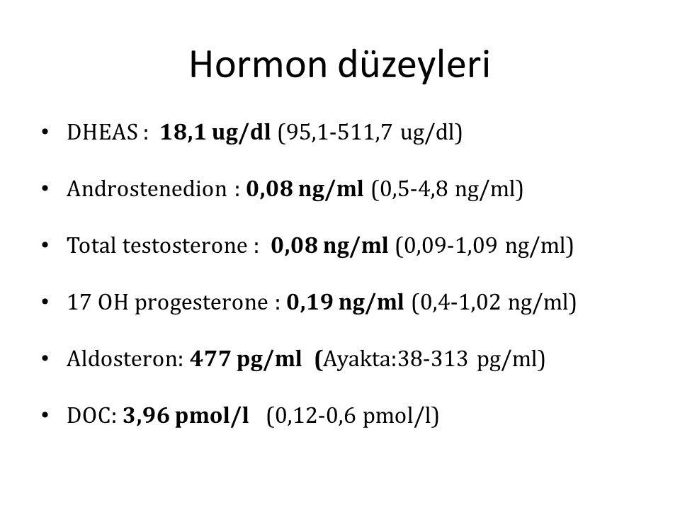 Hormon düzeyleri DHEAS : 18,1 ug/dl (95,1-511,7 ug/dl) Androstenedion : 0,08 ng/ml (0,5-4,8 ng/ml) Total testosterone : 0,08 ng/ml (0,09-1,09 ng/ml) 1